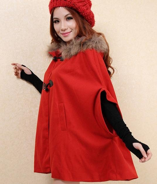 Aliexpress.com : buy poncho cape coat jacket, wool shell, removable fur collar, navy blue red green khaki from reliable jacket fur collar suppliers on kate's secret garden