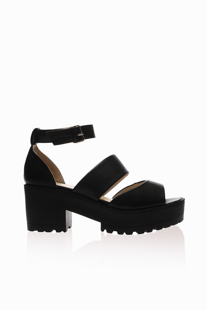 Olsen Black Platform Sandals - Stone Fox