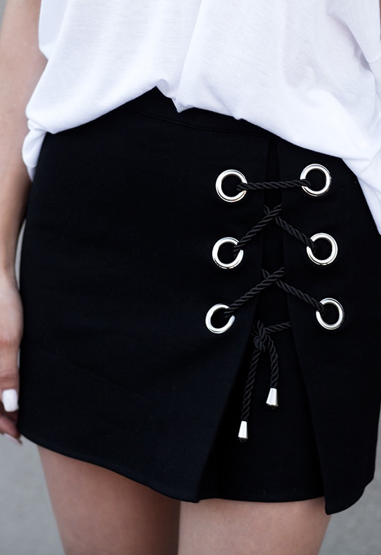 Jagger Grommet Lace-Up Mini Skirt by Fashionlush