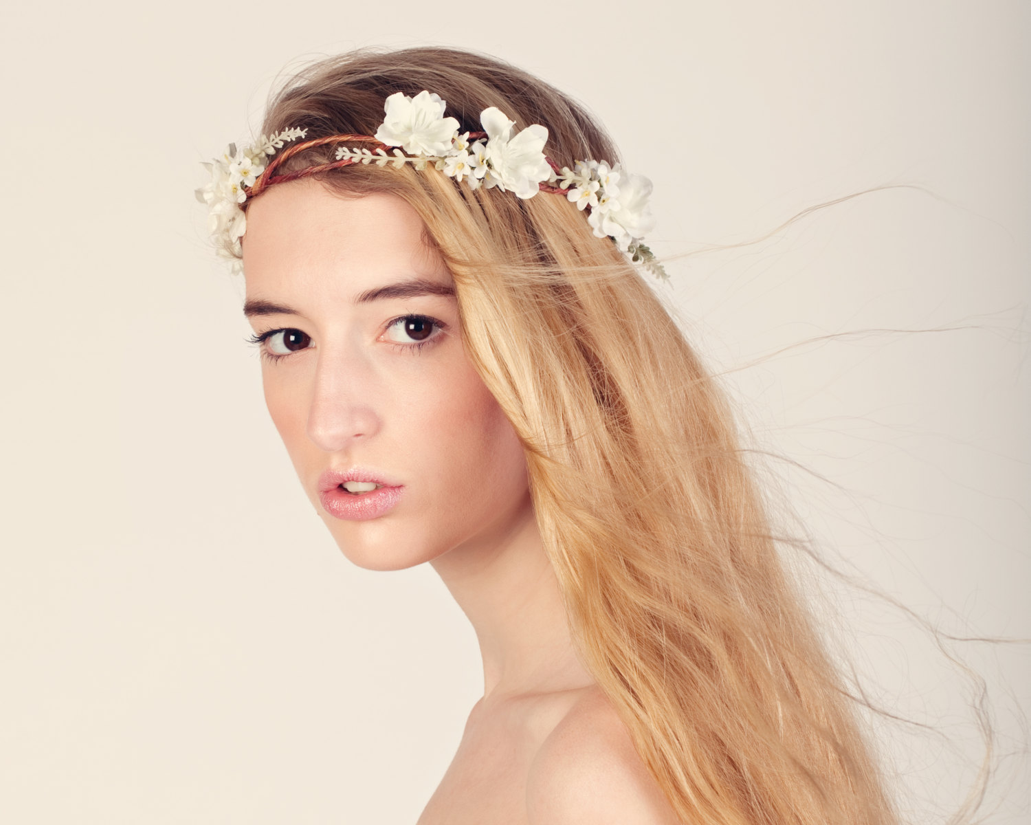 Boho bridal hair crown, flower crown, woodland wedding head piece, white flower crown, bridal headpiece
