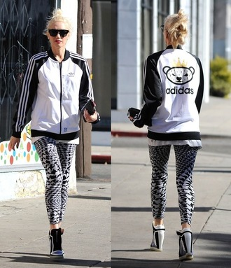 pants shoes jacket streetstyle black and white adidas gwen stefani