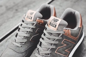 shoes sneakers grey rose gold chic new balance fashion