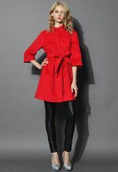 red coat,red wool coat,wool blend coat,mid sleeves,raglan sleeve coat,self tie belt,funnel neck,www.ustrendy.com