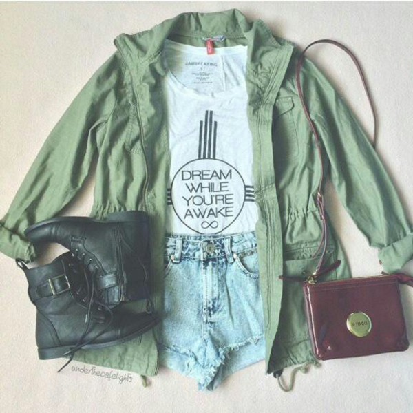 jacket hipster army green jacket dream combatboots fall outfits High waisted shorts jeans green jacket drawstring trenchcoat grunge bomber jacket green