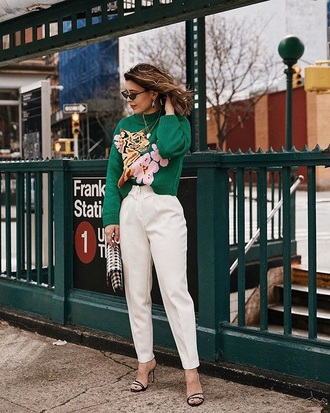 sweater green sweater pants white pants knitted sweater sandals sandal heels high heel sandals