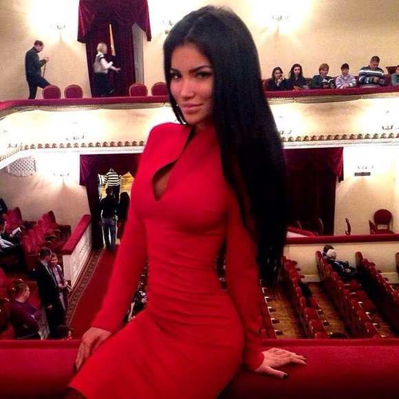 dress red dress red sexy dress business dress deep v neck dress vneck tight dress long sleeve dress svetlana bilyalova v-line