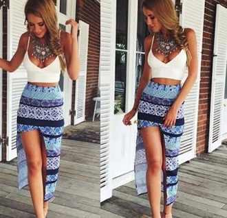 skirt blue aztec print skirt