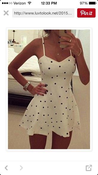 dress white dress white t-shirt polka dots black dress little black dress summer dress cute dress sexy dress short dress black and white dress