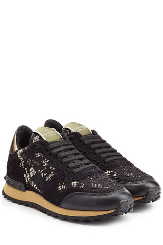 sneakers lace leather black shoes