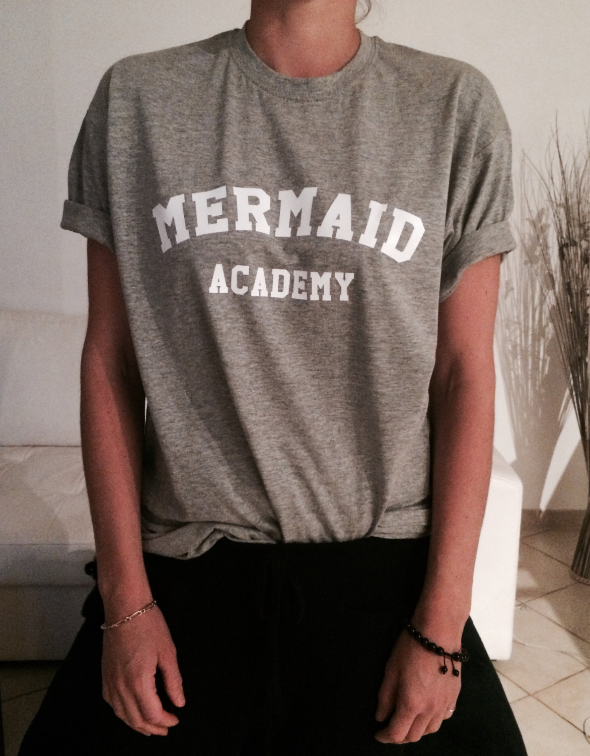 Mermaid Academy Tshirts For Women Girls Funny Slogan Quotes Fashion
