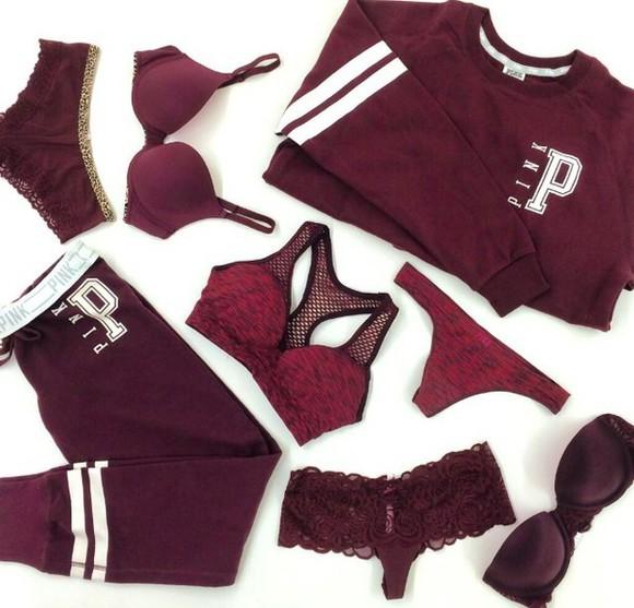 underwear panties victoria's secret pants bra burgundy