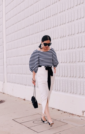 hallie daily blogger top skirt shoes bag sunglasses jewels belt scarf striped top midi skirt white skirt shoulder bag chanel bag black and white sleeveless top pencil skirt chanel black sunglasses