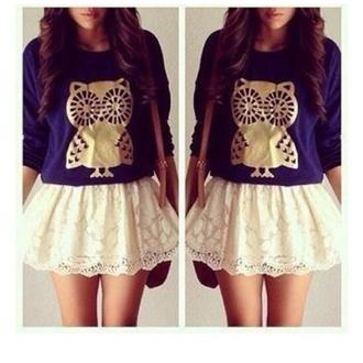 owl tumblr outfit white skirt
