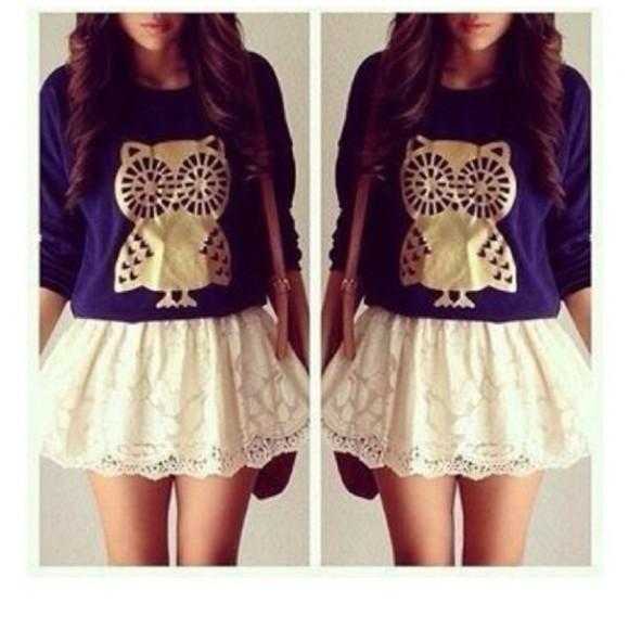 white skirt owl tumblr outfit