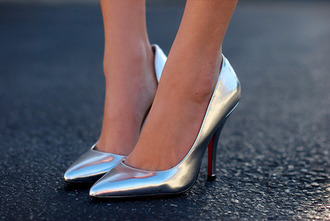 shoes heels silver stilettos short love cute silver heels