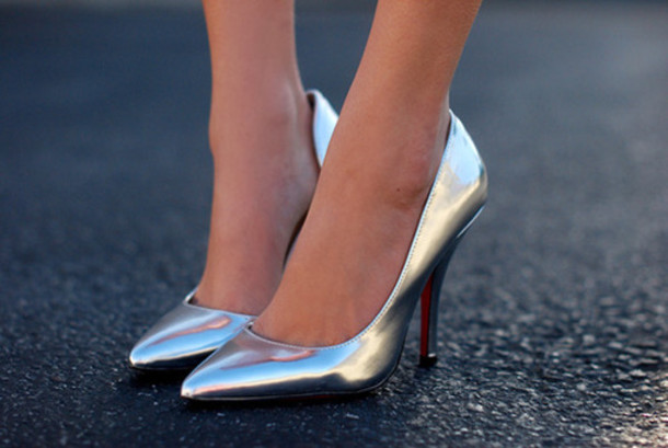 Silver Fashionable High Heels Pumps With 13cm Stilettos - Gia ...