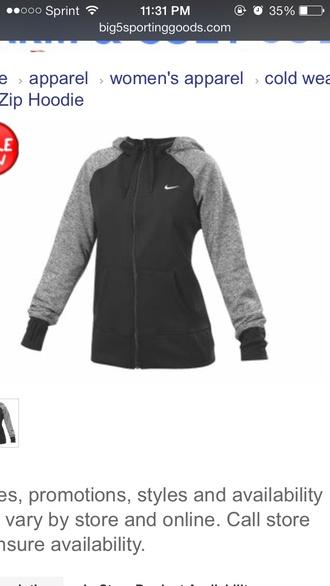 jacket nike nike jacket hoodie full zip black grey sportswear