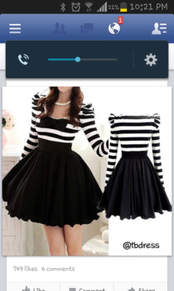 dress black and white stripes bows prom dress short prom dress
