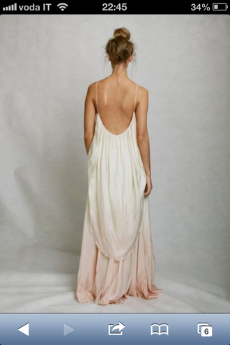 dress wedding dress white dress hippie ombre dress maxi dress cream dress pink dress peach dress backless prom dress clothes dip-dyed open back dresses toga long dress flowy dress back open back long open back dress open back dress silver light ombre nude pretty elegant dress summer dress fashion beach dress backless maxi feather dress backless maxi dress