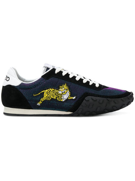 Kenzo women sneakers leather suede black shoes