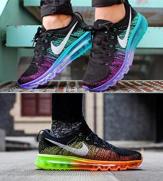 shoes nike nike air air max flyknit snearkers sportswear orange purple black nike flyknit