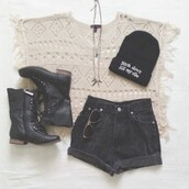 shirt,wooly jumper,wool top,cute sweaters,beanie,hat,cute hat,boots,black boots,shorts,black shorts,india love,india westbrooks,shoes,crochet shirt,cover up,bag,black,outfit,tumblr,hipster,comfy,american style,blouse,knitted top,High waisted shorts,sunglasses,black high waisted shorts