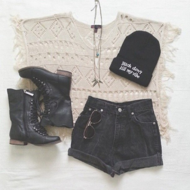 2aa4a9a9a24 shirt wooly jumper wool top cute sweaters beanie hat cute hat boots black boots  shorts black