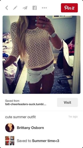 shirt short short shorts summer crochet holes top bottoms fall outfits