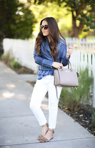 dress corilynn blogger top jeans jacket shoes bag sunglasses white jeans blue jacket leather jacket grey bag michael kors bag handbag spring outfits fringe sandals nude sandals sandals flat sandals