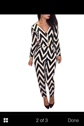 jumpsuit,black and white,zig zag,open back,open back top,pretty bitches,chevron
