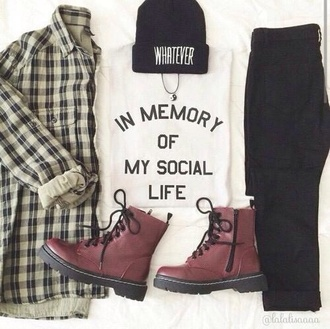 shirt t-shirt flannel beanie quote on it tumblr outfit black jeans drmartens jacket hat home accessory jeans shoes