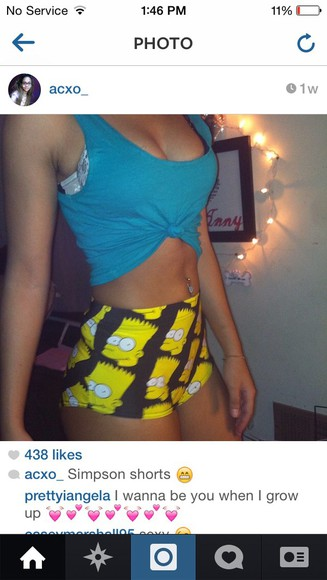 black shorts High waisted shorts simpsons yellow spandex shorts