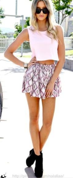 pink skirt skirt style crop tops pastle sweet cute summer purple skirt