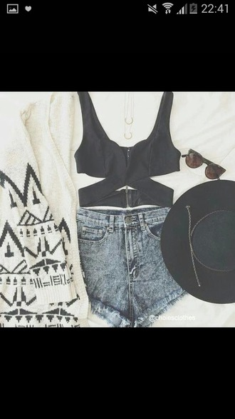 cardigan white black candigan summer clothes grungy top