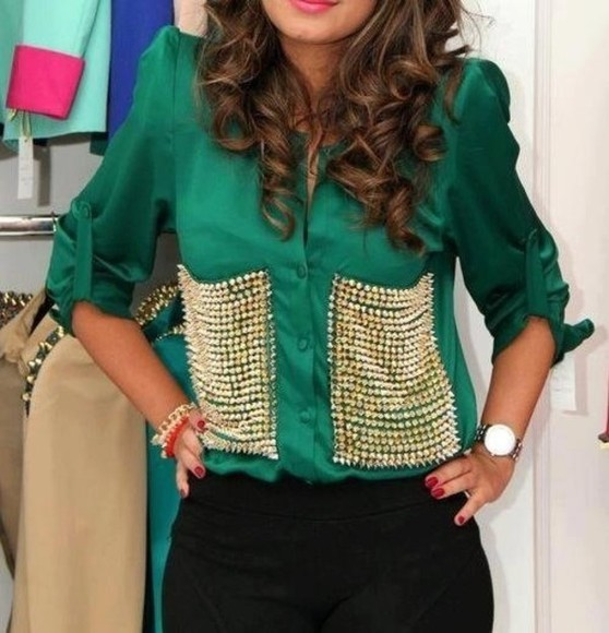blouse green blouse studs green blouse studs gold shuds