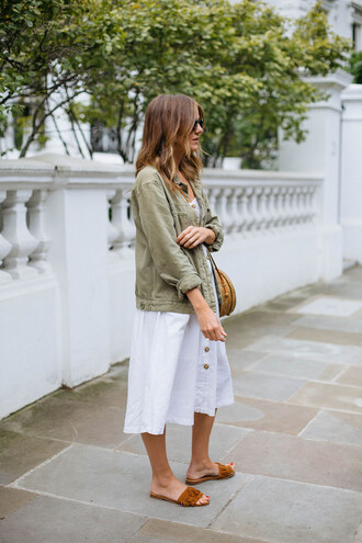 dress tumblr midi dress white dress button up jacket army green jacket shoes slide shoes bag round bag