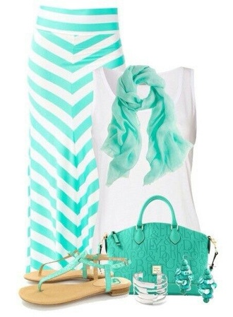 jewels scarf tank top skirt shoes