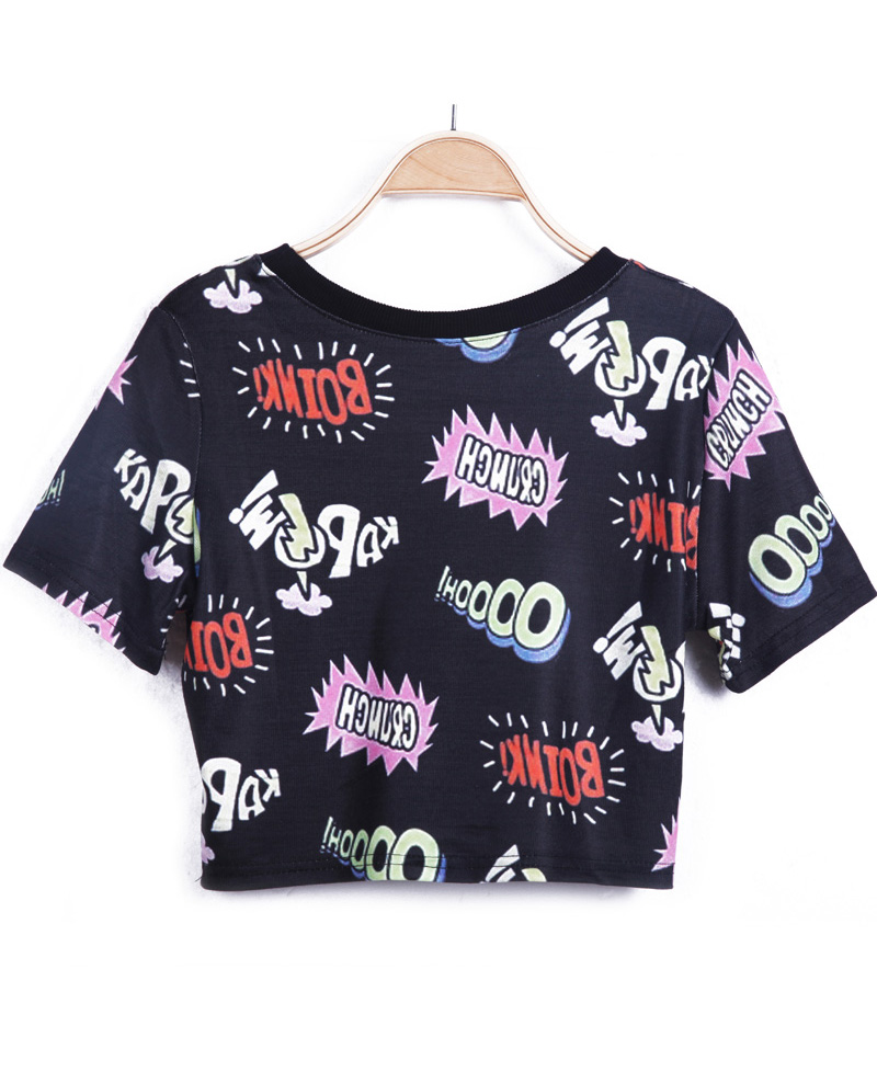 Black Short Sleeve Letters Print Crop T-Shirt - Sheinside.com
