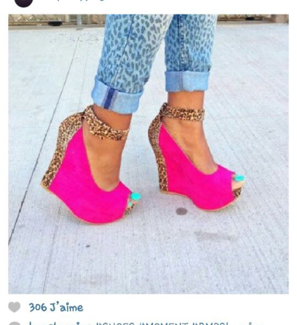 shoes fushia leopard print high heels fashion shoes pink Maëva