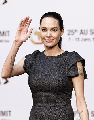 dress angelina jolie grey charcoal