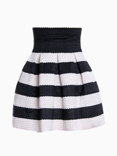 Black Striped Skater Skirt | Choies