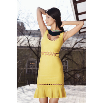 dress bqueen fashion bandage yellow girl sexy lace chic party waist hollow lace neck