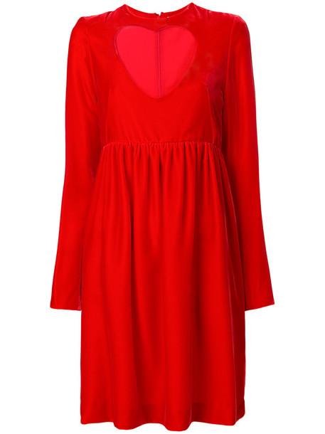 dress babydoll dress heart cut-out women cotton silk red