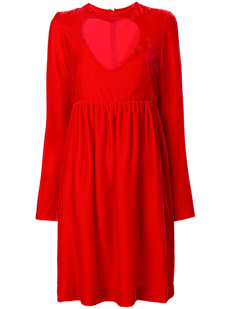 Chloe dress babydoll dress heart cut-out women cotton silk red