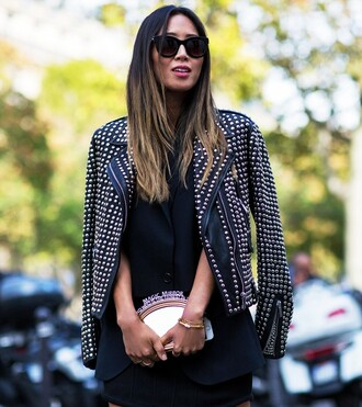 jacket leather jacket fashion week 2014 streetstyle embellished leather jacket