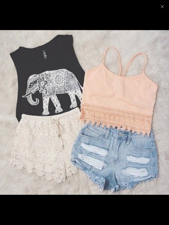 top shorts lace top elephant