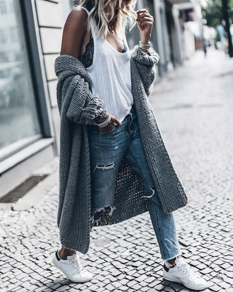 le fashion image blogger tank top cardigan white top lace bra black bra grey cardigan ripped jeans white sneakers adidas oversized cardigan long cardigan adidas shoes muscle tee date outfit cute outfits fall outfits
