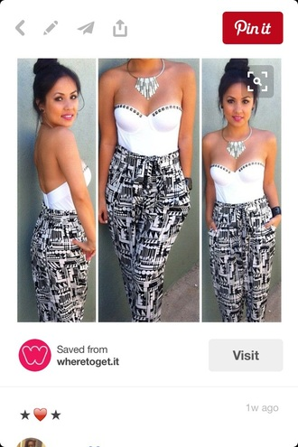 pants joggers black and white fashion outfit bustier cute style trendy