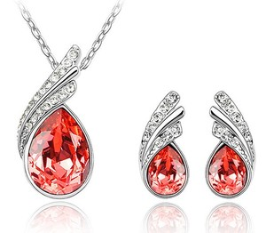 Stylish Jewellery Set Silver & Red Crystal Wings Studs Earrings & Necklace S230 | Amazing Shoes UK