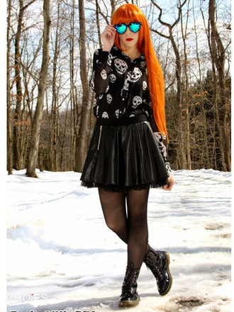 shirt skull skirt black sunglasses choies lovely winter outfits